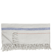 Hübsch Throw blanket white-blue tassels